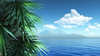 Paisaje soleado caribeño