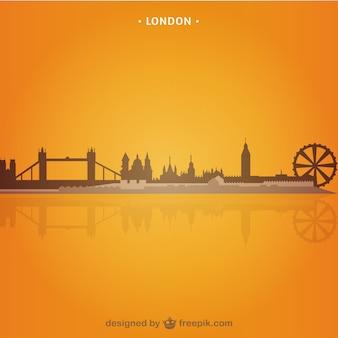 Paisaje urbano de Londres sobre fondo naranja