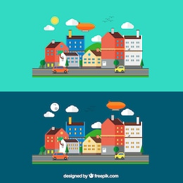 Paisaje urbano en estilo de dibujos animados
