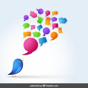 Pájaro azul con burbuja del discurso
