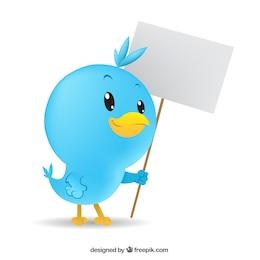 Pájaro azul con cartel en blanco