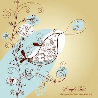 pájaro cantando con ilustración vectorial de flores