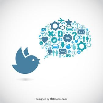 Pájaro y burbuja de diálogo llena de iconos