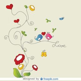 Pájaros de amor en adornos florales en tarjeta vector