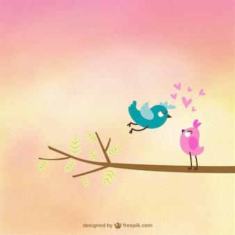Pájaros tiernos enamorados