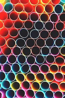 Pajitas de beber. Imagen abstracta macro con el fondo multicolor hermoso.