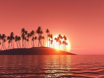 Palmeras en una isla