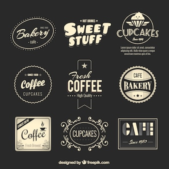 Panadería y café insignias