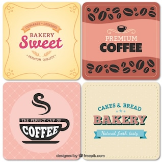 Panadería y cafetería etiquetas de estilo vintage