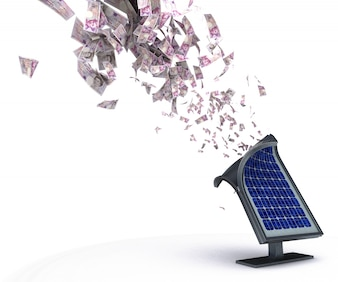 Panel solar expulsando dinero
