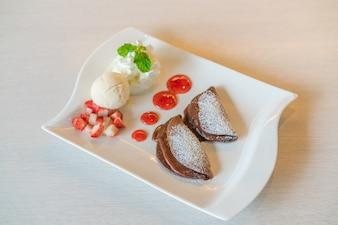 Panqueque pastelería pera la formación de hielo hecha en casa