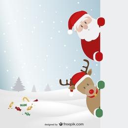 Papá Noel y reno con paisaje de invierno