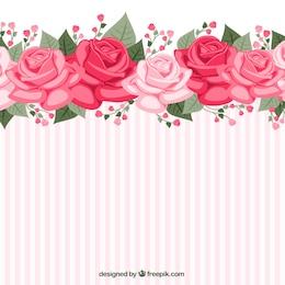 Papel pintado a rayas con rosas