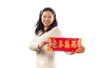 Papel que muestra china roja en blanco