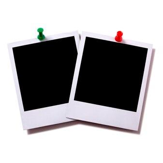 Papeles de fotografía instantánea con chinchetas