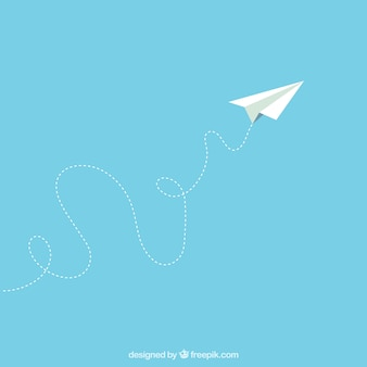 Avión de papel en estilo de dibujos animados