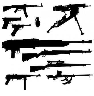 Paquete de armamento siluetas vectoriales