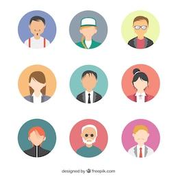 Paquete de avatares de gente moderna