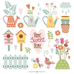 Paquete de dibujos animados de hogar dulce hogar