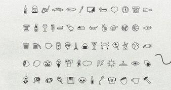 Paquete de pequeño pintado a mano iconos