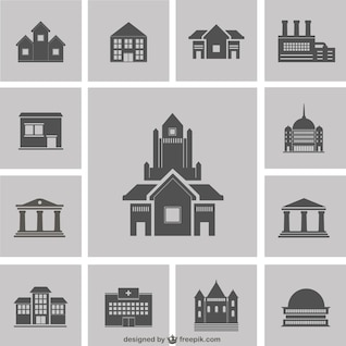 Paquete de siluetas de edificios