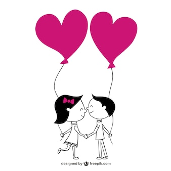 Pareja con globos de corazones