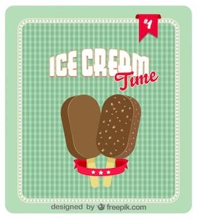 Pareja de helados de chocolate en diseño de poster retro