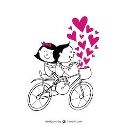 Pareja romántica en bicicleta