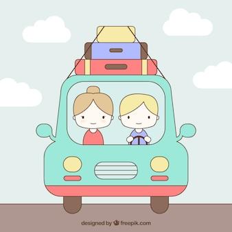 Pares lindos en la carretera