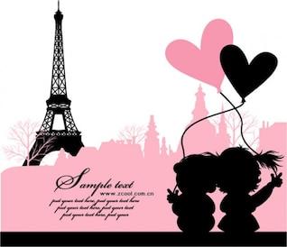 París, Francia, el amor material de vectores