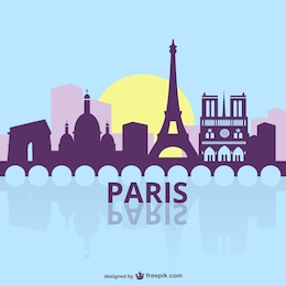 Paris silueta de paisaje urbano