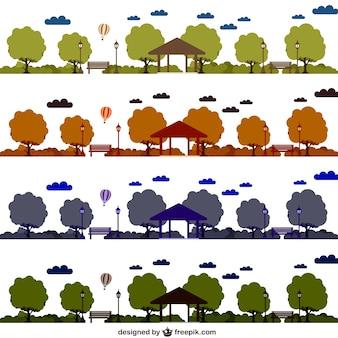 Conjunto de vectores de parques en distintos colores