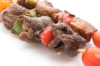 Parrilla kebab fuera fuego comida