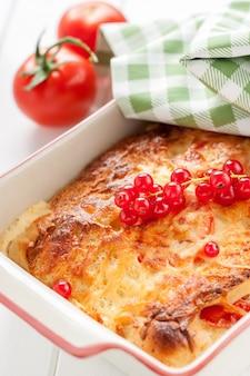 Pasta deliciosa con queso fundido