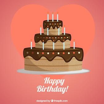 Pastel de chocolate de cumpleaños