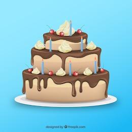 Pastel de chocolate para cumpleaños
