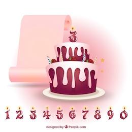 Pastel de cumpleaños de fresa con velas de números