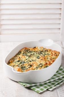Pastel de verduras cocinado