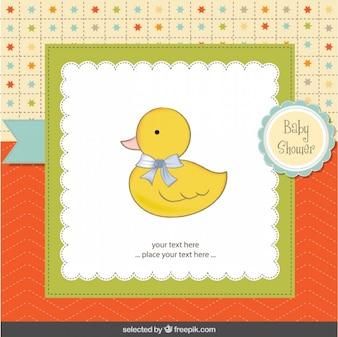 Pato adorable con lazo, Tarjeta de bienvenida del bebé