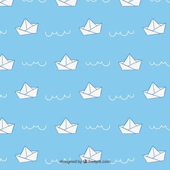 Patrón de barcos de papel