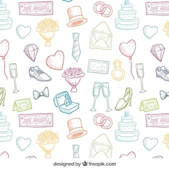 Patrón de boda dibujado a mano