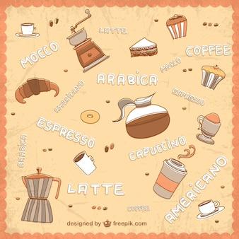 Patrón de café dibujado a mano