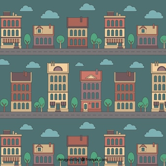 Patrón de casas esbozadas