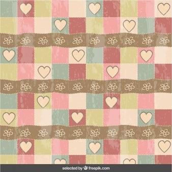 Patrón de corazones y flores vintage