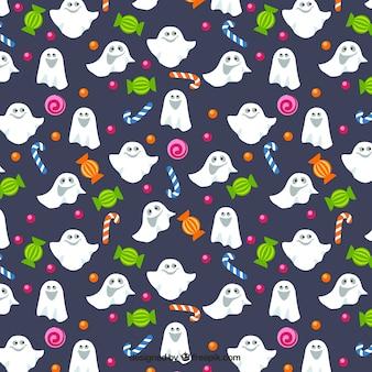 Patrón de fantasmas y caramelos
