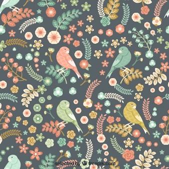 Patrón de flores y pájaros vintage
