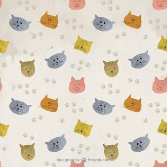 Patrón de gatos pintados a mano