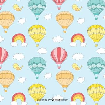 Patrón de globos de aire caliente lindo