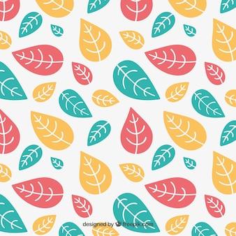 Patrón de hojas coloridas