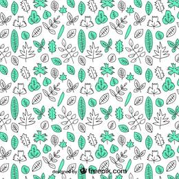 Patrón de hojas dibujadas a mano